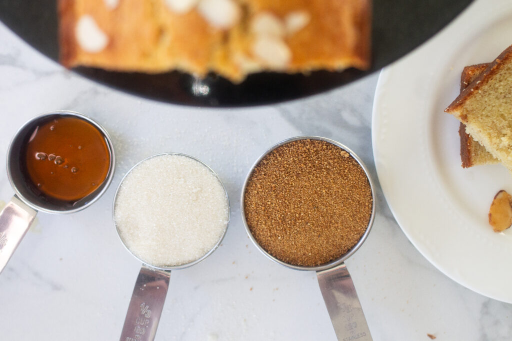 Different types of sweetener for banana bread.