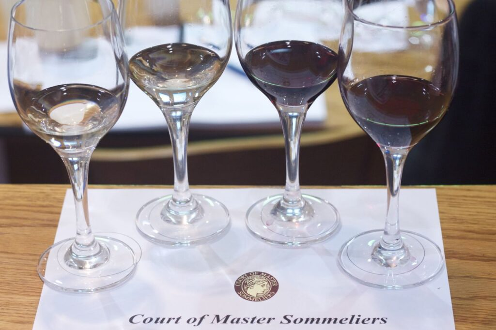 Wine tasting at Court of Master Sommelier introductory certification course.