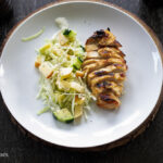 Apple-cucumber slaw with grilled chicken