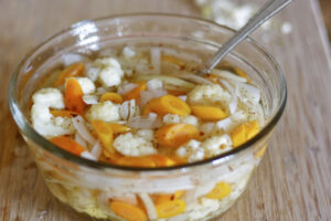 Quick pickled vegetables in bowl.
