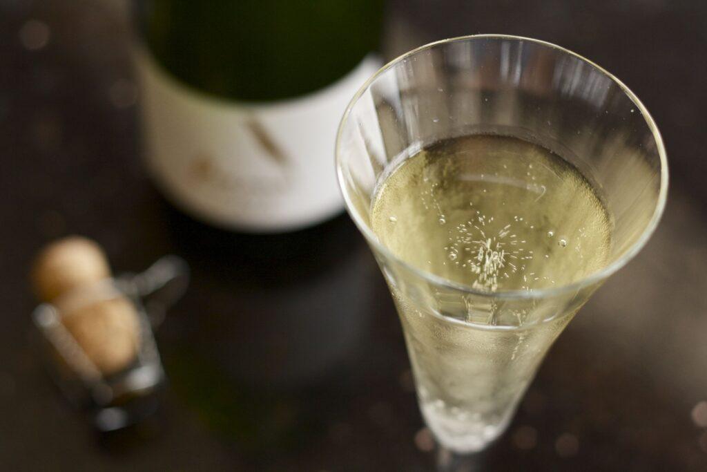 Cava sparkling wine in champagne flute.