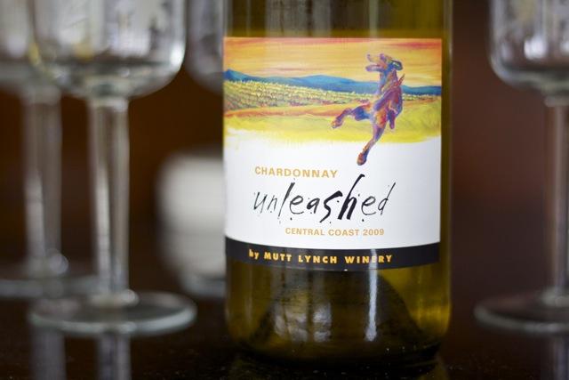 Bottle of Unleashed wine from Mutt Lynch winery.