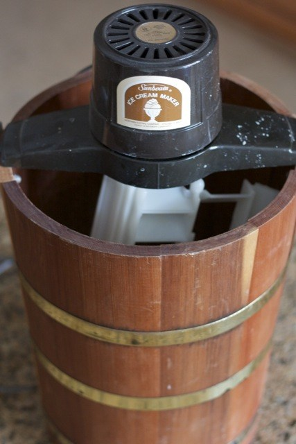 Old-fashioned hand-cranked ice cream maker.