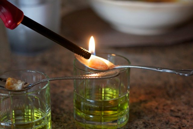 Trying to light sugar cube on fire for absinthe. How to serve absinthe with Edible Times.