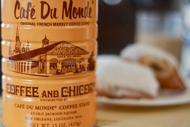 Can of Cafe du Monde coffee with chicory.