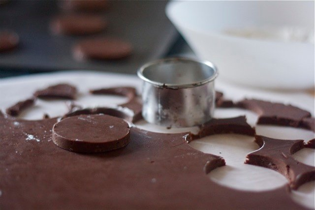 Chocolate shortbread cookie dough with cocoa powder on parchment paper.