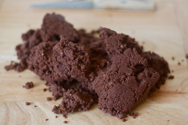 Chocolate shortbread cookie dough with cocoa powder.