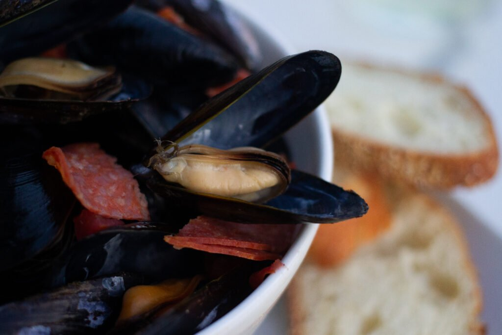Mussels with a white wine broth.