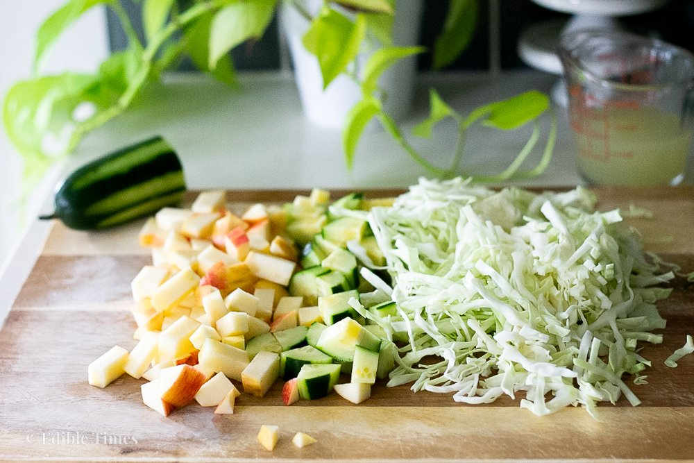 Apple cucumber salad ingredients.