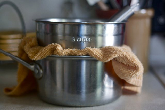 Double boiler on counter for hollandaise sauce.