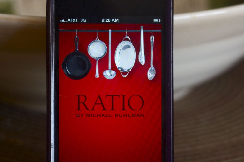 Photo of Ratio app on iPhone sitting on counter.