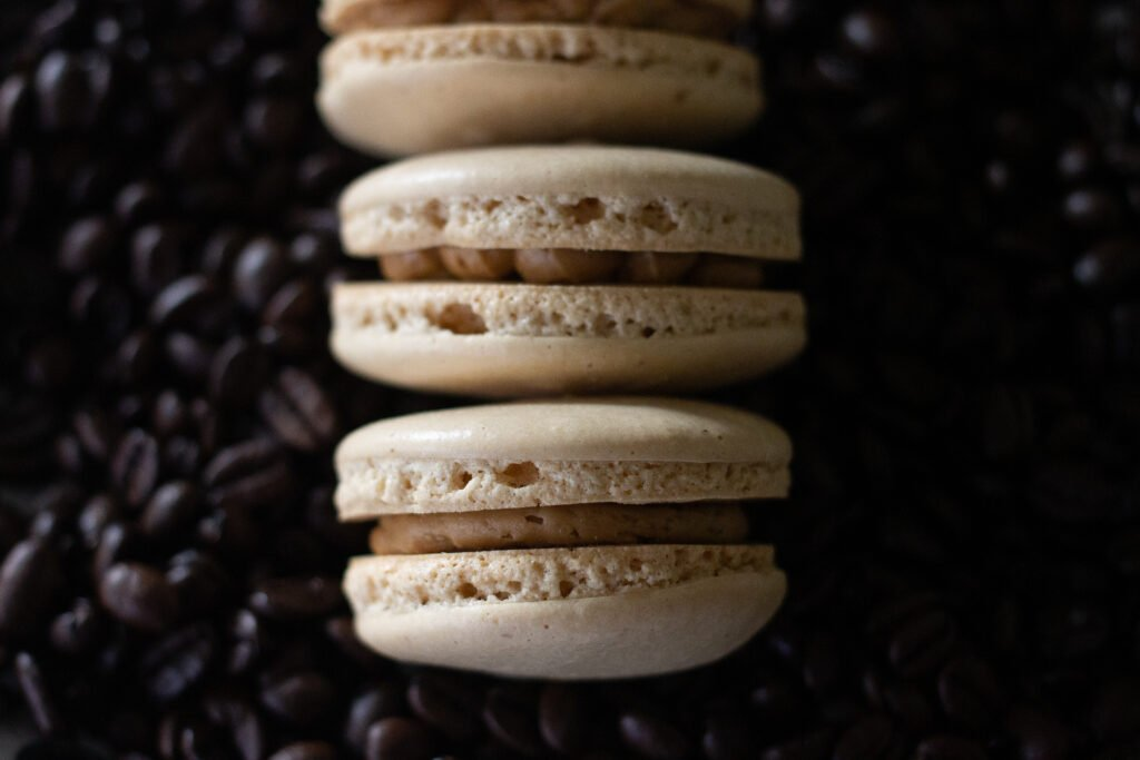Coffee French macarons with coffee Bailey's buttercream from Edible Times.