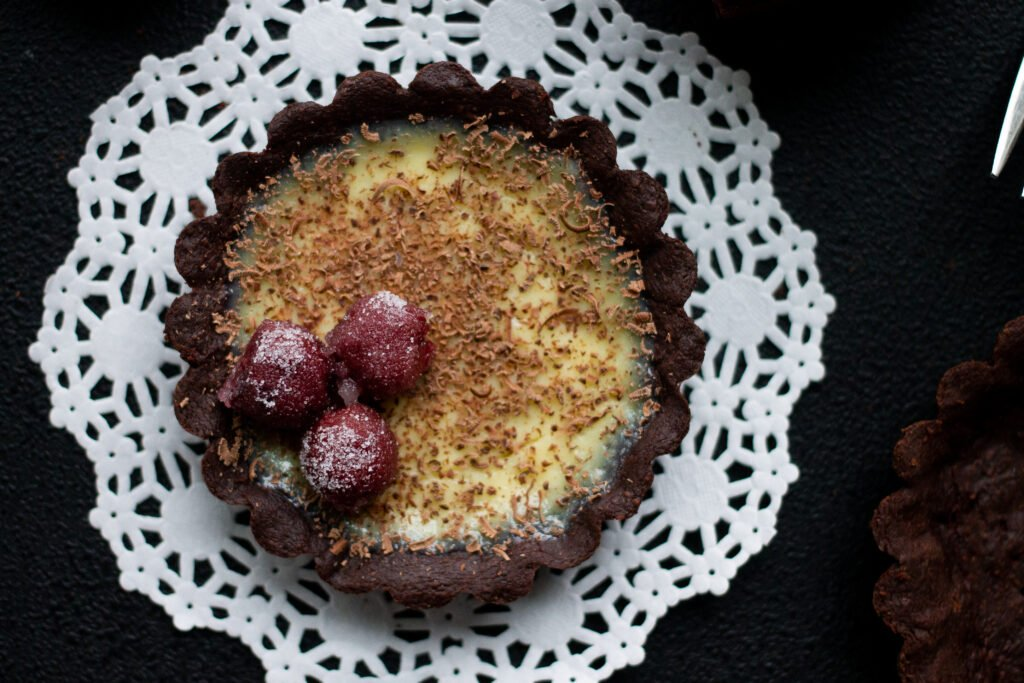 Tart made with chocolate shortbread crust.