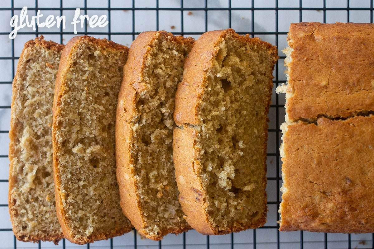 Slices of gluten-free banana bread with sour cream.