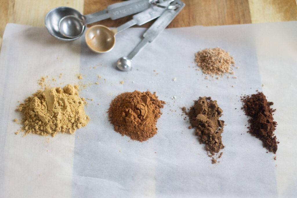 Ground spices on parchment paper.