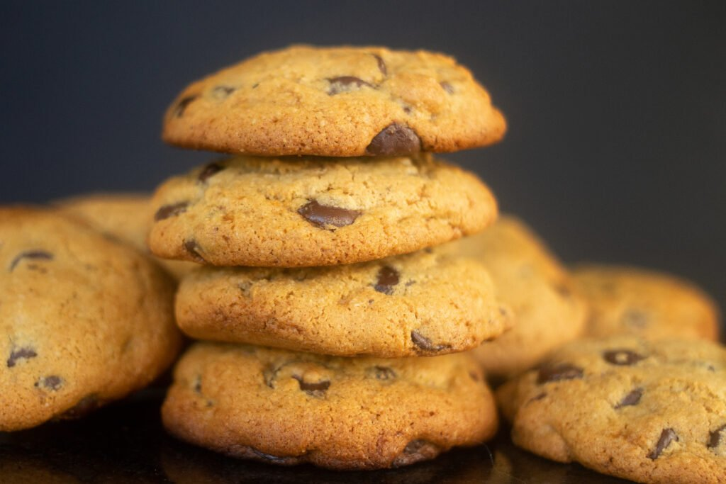 Stack of paleo chocolate chip cookies with almond flour.