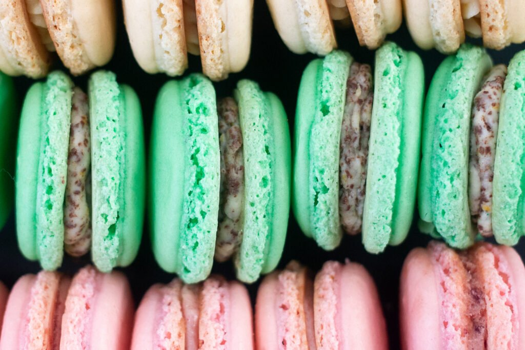 Three macaron flavors lined up.