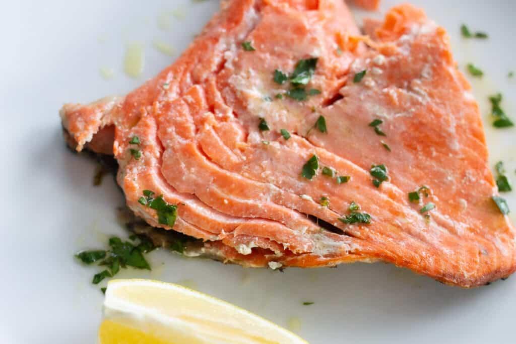 Flaky, baked sockeye salmon with lemon vinaigrette