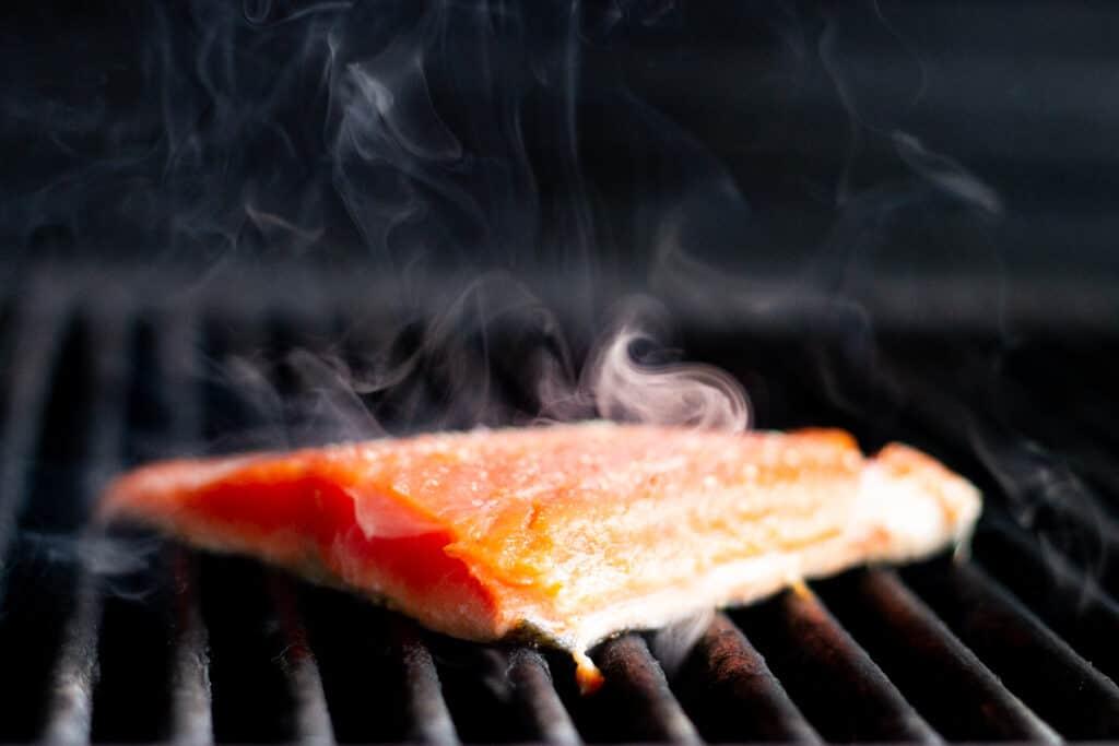 Sockeye salmon on grill