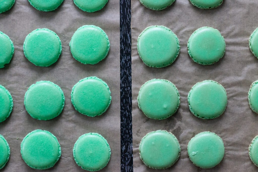 Two batches of macarons, the right rested, the left batch not rested.