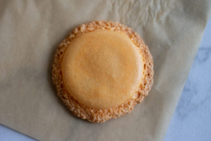 Macaron with large, spread feet from resting too long