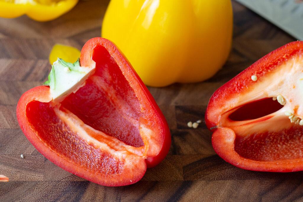 Red bell pepper sliced crosswise.