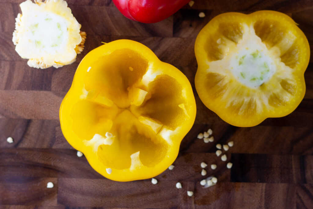 Looking into hollowed out yellow bell pepper.